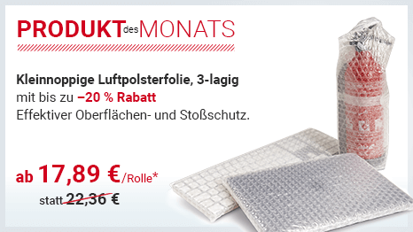 Produkt des Monats: Kleinnoppige Luftpolsterfolie, 3-lagig