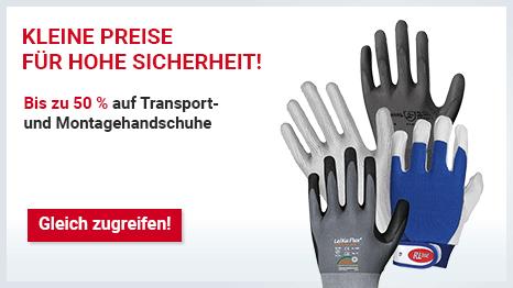 Bis  zu -50 % Rabatt auch Transport- und Montagehandschuhe